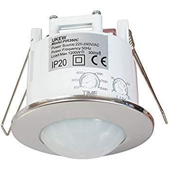 Sensor de movimiento para techo, 360grados, ahorro de energía, cromado, empotrable, automático, interruptor de luz movimiento PIR
