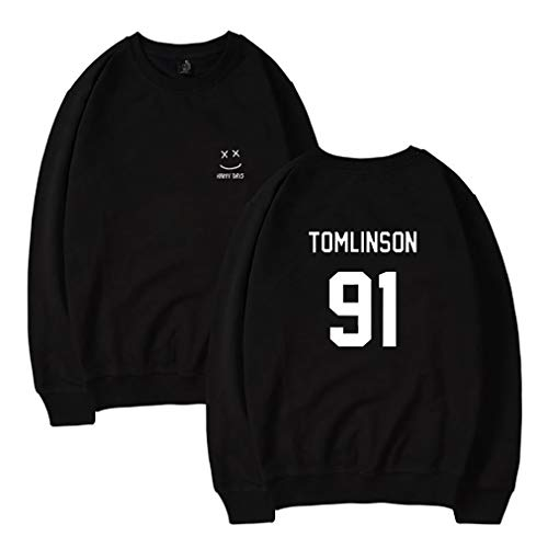 Zhao Li Männer Herren Pullover Mit Rundhalsausschnitt Hoodie Hoodies Hoody Louis Tomlinson 91 One Direction Sweatshirt Pullover Trainingsanzug Sweat Tops Mit Kapuze (Color : Black 1, Größe : XXL)