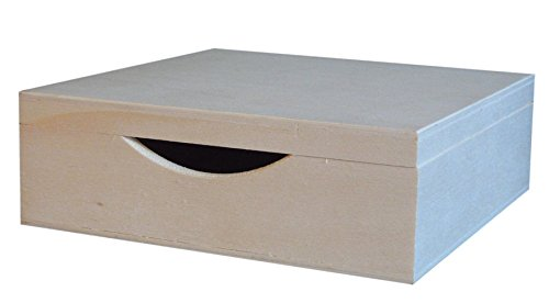 greca Servilletero, Caja Tapa Madera. En Crudo, para Decorar. Medidas (Ancho/Fondo/Alto): 18 * 18 * 6 cm. Medida Interior útil: 16.5 * 16.5 * 5 cm.