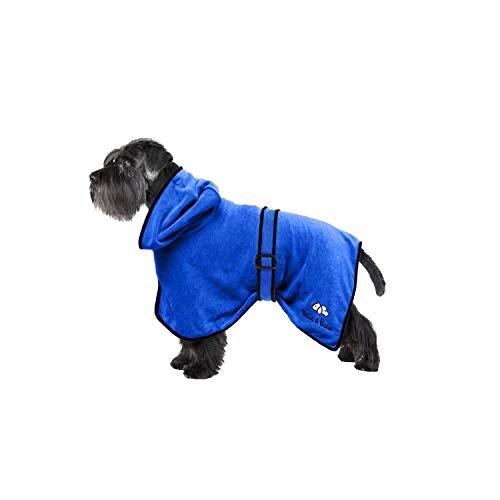 Bella & Balu Hundebademantel aus Mikrofaser + Pfotentuch – Saugfähiger Hunde Bademantel zum Trocknen nach dem Baden, Schwimmen oder Spaziergang im Regen (S   Blau)