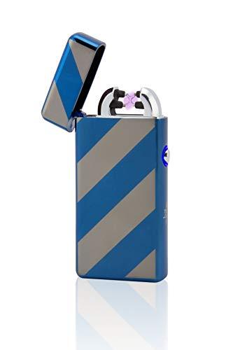 TESLA Lighter TESLA Lighter T08 Lichtbogen Feuerzeug, Plasma Double-Arc, elektronisch wiederaufladbar, aufladbar mit Strom per USB, ohne Gas und Benzin, mit Ladekabel, in edler Geschenkverpackung, gestreift Gold Gold