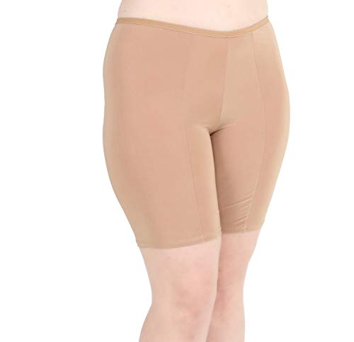 Undersummers Classic Shortlette: Plus Size Anti Thigh Chafing Slip Shorts for Under Dresses(3X, Beige)