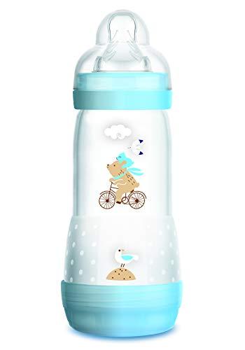 Mam - Easy Start antykolkowa butelka dla niemowląt ze spowolnionym przepływem - 320 ml - dla chłopców - niebieska - 0+ miesięcy.