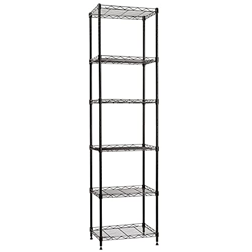 "YOHKOH 6 Wire Shelving Steel Storage Rack Adjustable Unit Shelves for Laundry Bathroom Kitchen Pantry Closet 16.6"" Width x 63"" Height x 11.8"" Depth, Black"