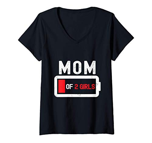 Mujer Mamá de 2 niñas regalo batería baja Día de la Madre Camiseta Cuello V