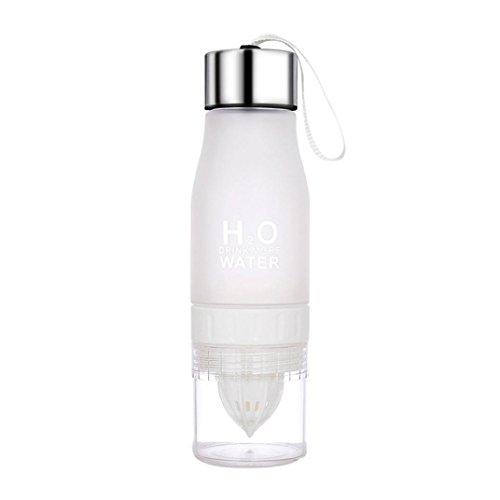sunshineBoby 700ML Zitrone Tasse Flasche H2O Trinken mehr Wasser Trinken Fahrrad Flasche,Trinkflasche - Wasser Flasche, Sporttrinkflasche Inkl. Frucht Sieb für Fruchtschorlen (Weiß)