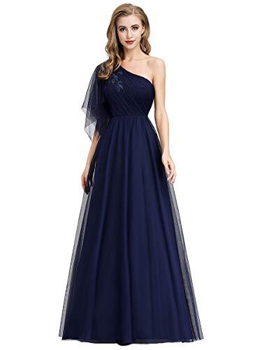 Ever-Pretty Vestito da Festa Donna Damigella d'Onore Linea ad A Monospalla Tulle Lungo Blu Navy 46