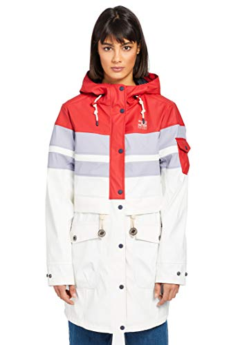 khujo Damen Mantel SOUANNA aus wasserabweisendem Material Regenmantel mit Kapuze