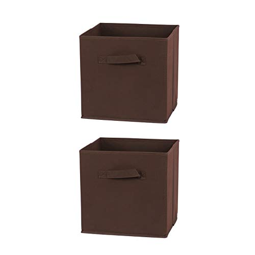 A Set of 2 Foldable Storage Boxes with Handles Multifunction Modern Style Organizer Containers Space-Saving Toys Baskets Kids Boxes Portable Cube for Home Bedroom Closet Office,Brown