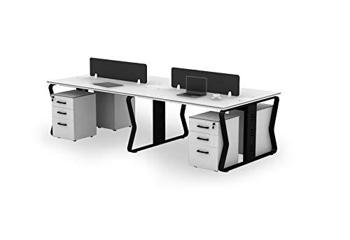 TOPREGAL Team Schreibtisch, Schreibtisch 4 Personen, Teamarbeitsplatz, Bürotisch, inkl. 4 Rollcontainer