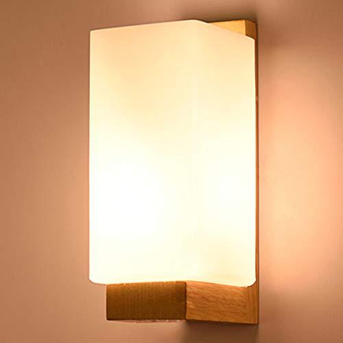 WJPL wandlamp interieur met lampenkap van melkglas en body van hout, moderne wandlamp voor slaapkamer, woonkamer, Alberghi Sala Studio licht 85-265 V/E27