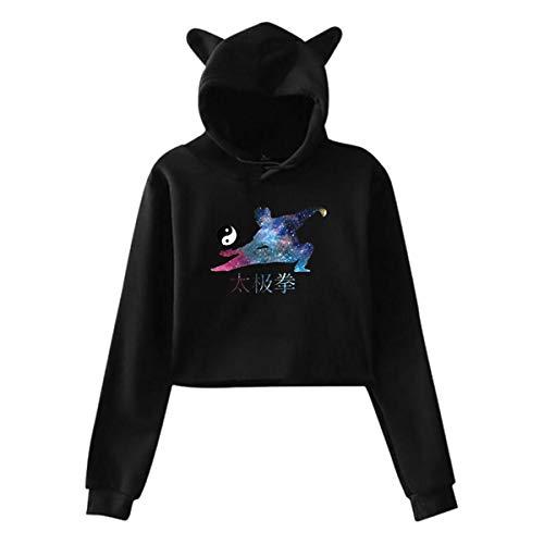 KIMIPOP Womens Tai Chi Chuan Yin Yang Space Casual Crop Top Cat Ear Sweater