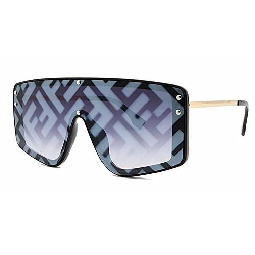 Gosunfly Europäische und amerikanische Mode-Sonnenbrillen große Boxed Trend Sundo-Sonnenbrillen für Damen-Black Box doppelte graue Folie