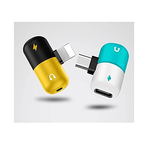 Tipo di capsula piccola, testa convertita 2 in 1, convertitore audio compatibile con sistema operativo Android e iOS, adatto per telefoni cellulari e PAD. (Type-C-bianco e blu)