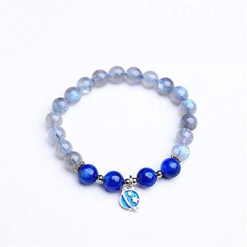 WLLLTY Pulsera Mujer, Pulsera de Piedra Lunar, Accesorios para Mujer, Colgante de Planeta Azul, Pulsera con Cuentas de la Suerte, joyería de Yoga, Regalo