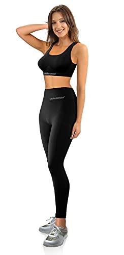 Sesto Senso Completo Sportivo Donna Vita Alta Reggiseno Crop Top Leggings Elasticizzati Fitness Yoga Palestra Nero XXS / XS