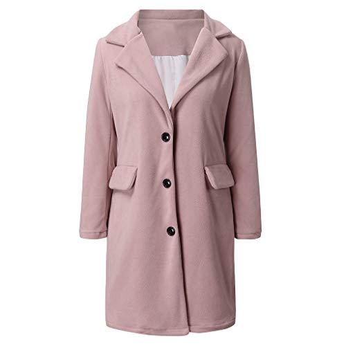 Kapian Damen Herbst Winter Jacke Lässige Outwear Parka Cardigan Schlank Mantel Frauen Elegant Solid Knopf Unten Langram Revers Künstliche Wollmantel Trenchcoat Exquisit Windjacke