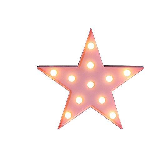 Rainbow Fox LED Escritorio Lámparas estrella Luces Animal Luz de noche Decorativo Interior Iluminación Batería Funcionar (estrella-rosa)