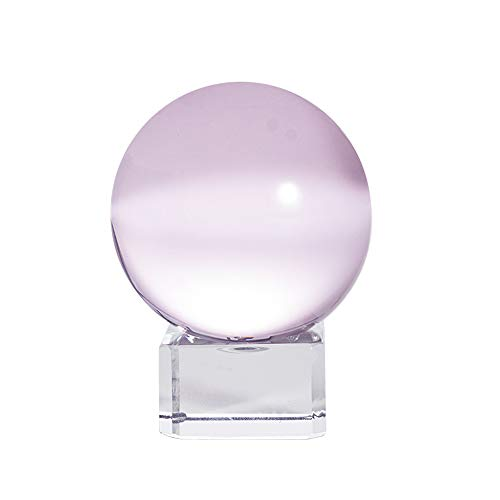 LONGWIN 50mm(2 inch) K9 Crystal Ball with Free Stand Suncatcher (Pink)