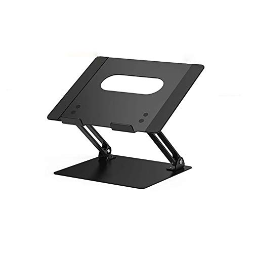 Soporte para ordenador portátil, de aleación de aluminio, ergonómico, para oficina, portátil, portátil, portátil, ligero, compatible con tablets (Negro)