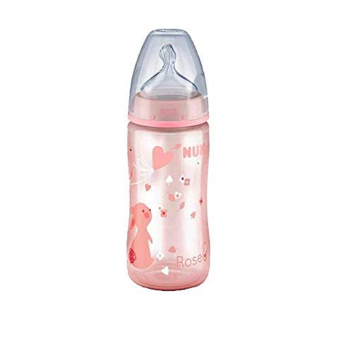 NUK First Choice+ Baby Flasche mit Sauger, 300 ml, Rosa, Motiv sortiert