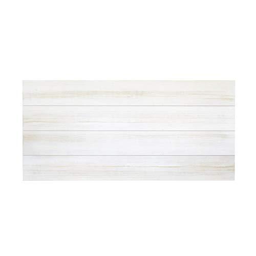 Decowood - Cabecero para Cama Dormitorio, Lamas Horizontales Corte Recto, Madera de Pino Gallego Decapado Blanco - 180 x 80 cm