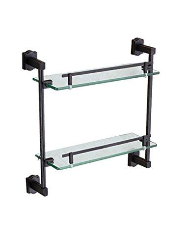 Vollkupfer-Badezimmer-Gestell-Doppelschicht Kosmetik antiker Waschtisch-Glasregal (Color : 37 * 40CM)
