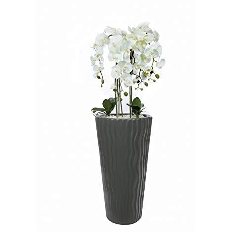 Künstliche Orchideen im Hochübertopf Grau - Gesamthöhe: ca. 130cm | Stoffblüten | Farbe: Weiß | Gesteck Orchidee Kunstpflanze