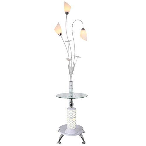 Lampes de table nordiques en fer forgé, minimaliste moderne, LED, tissu blanc, plateau de rangement en verre décoratif en verre, vertical (Edition : Remote control switches)