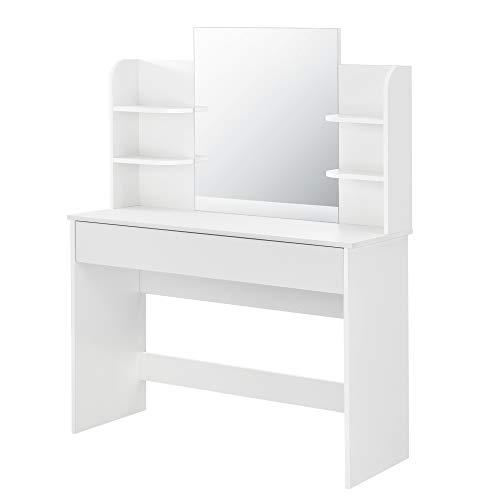 [en.casa] Tocador Mesa de Maquillaje con Espejo EDA 139,5 x 108 x 40 cm Mesa cosmética con Cajón y 6 Estantes Blanco