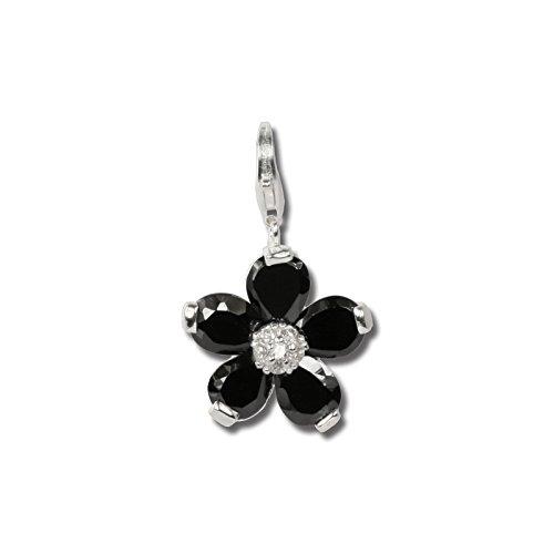 SilberDream Charm 925 Echt Silber Anhänger schwarz Blume Zirkonia FC4115