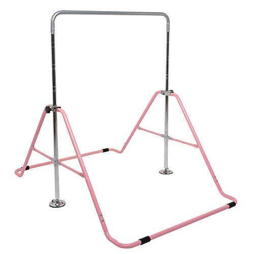 JOYMOR Expandable Gymnastics Bars, Folding Horizontal Bars with Adjustable Height, Junior Training Bars for Kids (Pink)