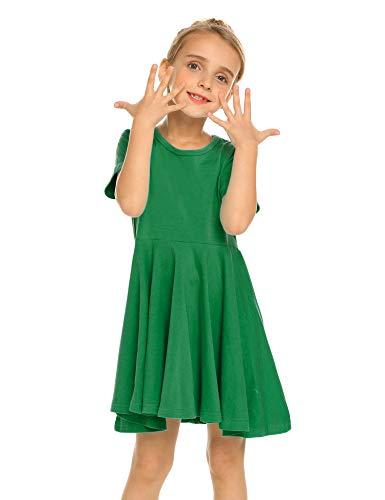 Trudge Mädchen Swing Kleider für Kinder Sommerkleid Hem Skaterkleid Kurzarm T Shirt Kleid Baumwolle Prinzessin Kleid einfarbig Basic FatternKleid Rundhals Freizeitkleidung Gr.92-164, Grün, 110