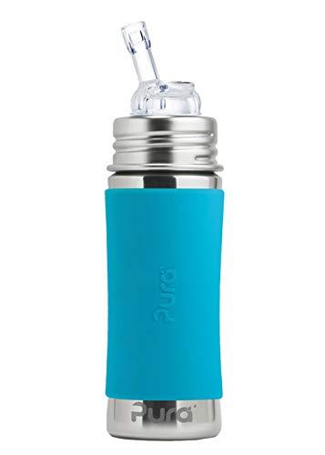 Strohhalmflasche 300ml/325ml Edelstahlflasche mit einem Trinkhalmaufsatz. Inklusive Travelcover (Schutzhaube) aus Silikon in Blau