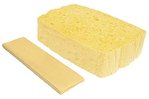 Spontex Quellschwamm aus 100{0293b6b7c7e82ef5310e8363974a6f0ed7dbeb707305170f45837945bde9e35e} biologisch abbaubarer Zellulose (10er Pack), in recyceltem und recycelbarem PET-Beutel, saugstark, je 135 x 90 x 37 mm