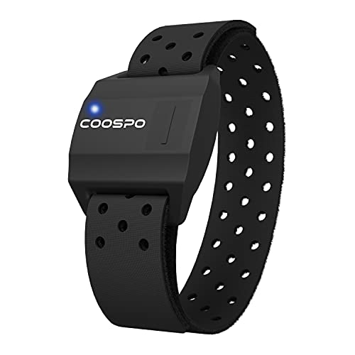 CooSpo Heart Rate Monitor Armband,Bluetooth ANT+ Armband Heart Rate with IP67,Optical Heart Rate Monitor for Peloton,Strava,Zwift,Polar Beat,DDP Yoga(One More Bands)