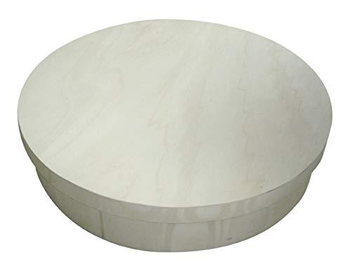 Caja sombrerera. En madera natural. Diámetro: 51 cms. Alto: 11 cms. Se puede pintar.: Amazon.es: Hogar