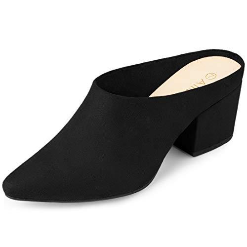 Allegra K Women's Pointed Toe Slip On Block Heel Slide