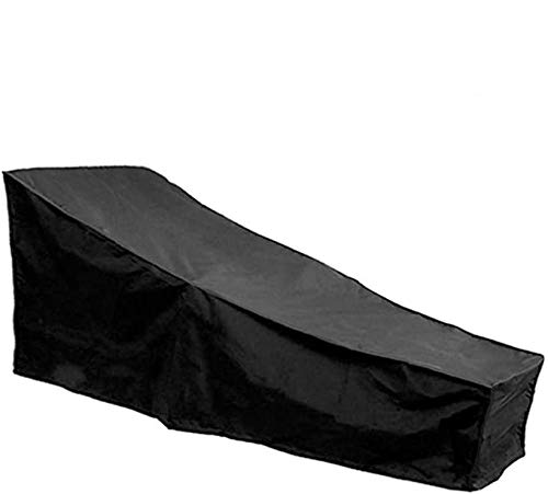 You's Auto Sun Lounger Cover Waterproof Outdoor Sunbed Cover 190T Polyester Fabric Windproof Anti UV Garden Patio Furniture Protector with Storage Bag Rubber Band(208 * 76 * 41/79cm) (Black)