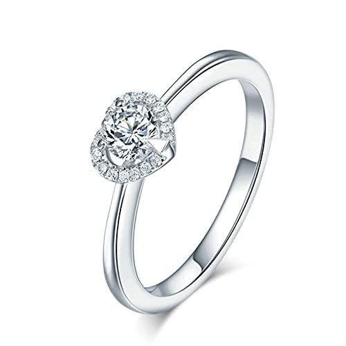 Amody Anillo de Boda de Oro 18K, Anillos de Boda Corazón Forma con Diamante 0.3ct Tamaño 18,5