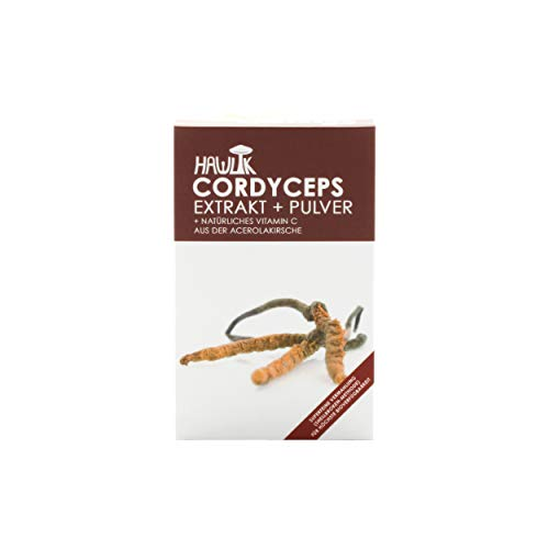 Hawlik Vitalpilze - Cordyceps CS-4 Extrakt + Pulver - 120 Kapseln - 250 mg Vitalpilz Extrakt - 150 mg Pulver - 8,5 mg natürliches Vitamin C