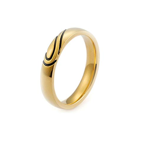 AmDxD Edelstahl Damen Ringe Puzzle Herz Heiratsantrag Ring Gothic Bandringe Edelstahlringe Gold Gr.62 (19.7)