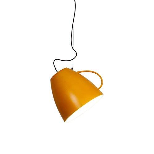 Modern Metall E27 Pendelleuchte Vintage Kaffeetasse Lampeschirm Jahrgang Eisen Design Pendellampe Macaron Farbe Hängeleuchte Innenbeleuchtung Kronleuchter Strahler für Wohnzimmer Küche Ø30cm, Orange