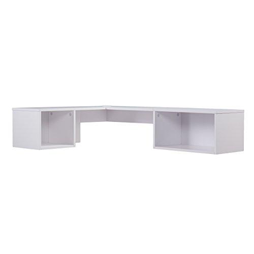 SEI Furniture Flynn Floating Wall Mount Corner Desk - Storage Cubbies - Pure White Finish