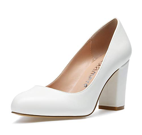 CASTAMERE Damen High Heels Runde Zehen Partie Pumps Blockabsatz 8CM PU Weiß Schuhe EU 40