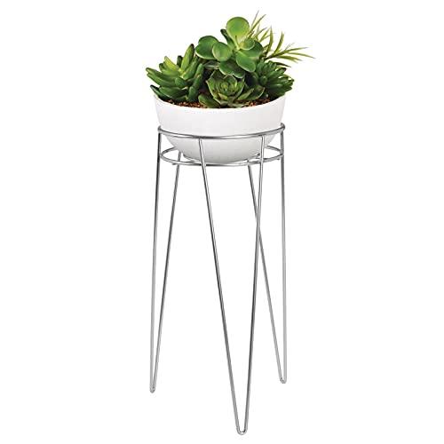 mDesign Midcentury Support Pot de Fleurs Moderne en métal – Support pour plantes dintérieur & extérieur de forme ronde – Porte pot de fleurs sur pied, jardinière vintage – Argenté