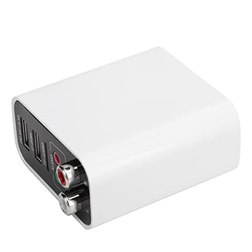 Dpofirs Adaptador Bluetooth, transmisor Receptor Bluetooth 5.0 2 en 1, Adaptador de Audio AUX inalámbrico de 3,5 mm, Compatible con reproducción de Disco U/Tarjeta de Memoria, 110-240 V(Blanco)
