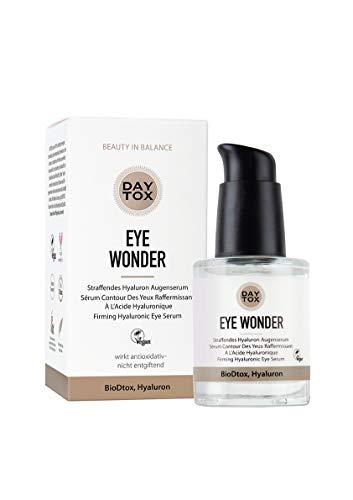 DAYTOX - Eye Wonder - Straffendes Hyaluron Augenserum, hochdosiert mit Sofortwirkung - Vegan, ohne Farbstoffe, silikonfrei und parabenfrei - 30 ml