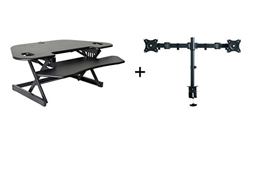 "Rocelco 46"" Height Adjustable Corner Standing Desk Converter with Dual Monitor Arm Bundle 