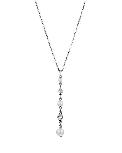 Konplott Halskette Pearl Shadow aus Metall mit Glassteinen & Kunstperlen